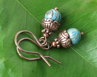 Blue brown earrings - turquoise stone beads & antiqued copper