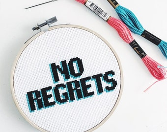 No Regrets Completed Modern Cross Stitch - naughty mature bad taste funny quote embroidery hoop finished hoop art