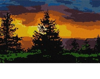 Needlepoint Kit or Canvas: Evergreen Sunset