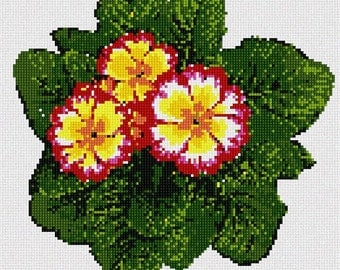 Needlepoint Kit or Canvas: Primrose Plant