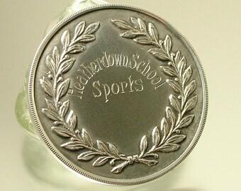Antique Art Deco Mapping & Webb, Heatherdown, sterling silver sports medal, Birmingham hallmark 1929 - Ascot