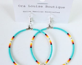 Flash Sale! Beaded Hoop Dangle Earrings