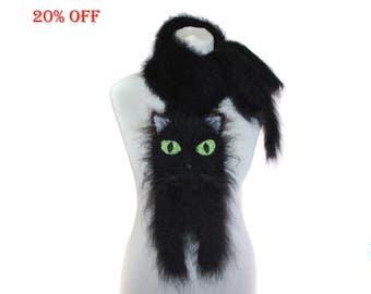 SALE 20 % OFF / Knitted Scarf / Fuzzy black Soft Scarf / knit cat scarf / Black cat / animal scarf