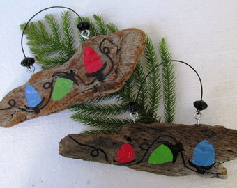 Christmas Lights Driftwood Sign: Gift for Her, Gift for Him, Custom Ornament, Shabby Chic Holiday, READY TO SHIP for Christmas