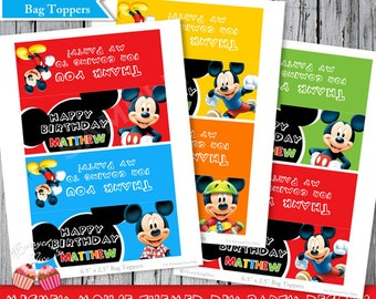 Mickey Mouse Happy Birthday Treat Bag Toppers