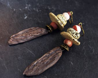 driftwood earrings wood angel wing earring jasper dangle Brown Beige raw rustic jewelry