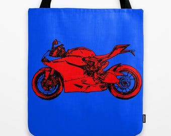 Tote bag | Ducati 1199, Original handmade drawing, red and blue, great gift for bikers