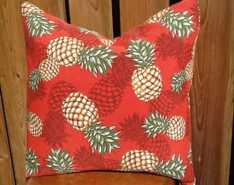 Outdoor Fabric Pillow Cover tropical pineapples brick red and tan brown tropical 18 x 18 throw pillow