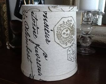 Drum Lampshade rustic french script in a natural cotton black and olive script clip fitter