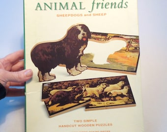 Charming Handcut Wood Puzzle, Sheep and Sheepdogs, Optimago Jr., for Ages 2-5, Images from Edwin Noble