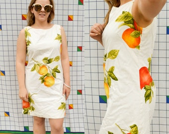 SOUR Lemons and Oranges Floral Fruit Bodycon Picnic Summer Dress Sleeveless 1990s Vintage White Funky Abstract Cute A-Line Dress