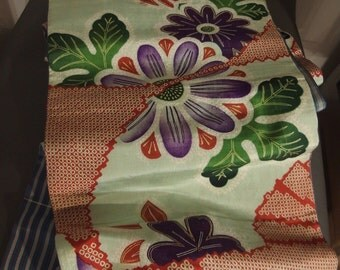 Charming Antique Chuya Reversible Obi for Kimono - Flowers and Stripes