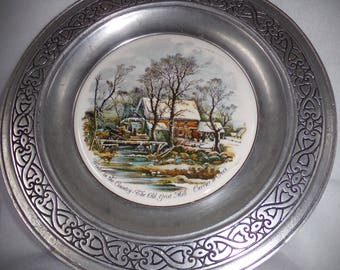 Wonderful Vintage Pewter Plate .  Currier and Ives Pewter, Porcelain Plate .Farm  Decor . Wall Hangings .Old Grist Mill .Cottage Chick .