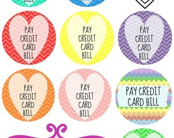 108 Planner Stickers -- Pay Credit Card Bill Printable Planner Sticker Bundle