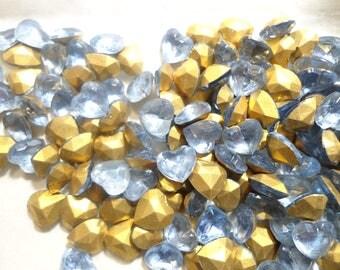 6 Vintage Czec Glass 8x8mm Lt. Sapphire Faceted Heart Stones