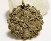African Brass Flower Pendant, Ethnic Jewelry Supplies (AE2)