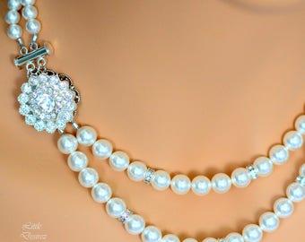 Art Deco Pearl Wedding Necklace Swarovski Pearl Necklace Pearl Rhinestone Bridal Necklace Crystal Necklace Multi strand Necklace CELINA