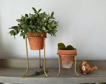 2 Gold Metal Plant Stands with Clay Pots Farmhouse