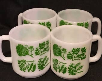 """Mid Century """"Glasbake"""" Coffee Mugs White with Herbs on the Cups, Farmhouse Kitchen, Country Kitchen. Set of 4 coffee cups"""