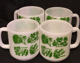 Vintage Kitchen Glasbake Coffee Mugs Mid Century Vintage White with Herbs on the Cups, Farmhouse Kitchen, Country Kitchen. Set of 4