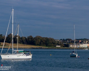 Portaferry Northern Ireland, Photography Landscape, Sail Boat, Large Wall Art Print, Wall Decor, Fine Art, Water, Blue, White, Town, Trees