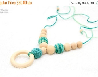 SALE Organic Teething necklace with wooden ring pendant, Breastfeeding accessory, Nursing mom necklace