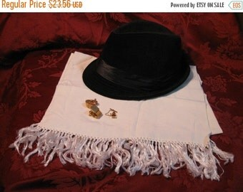 SALE Vintage Opera Scarf White 44'' x 13'' with 3'' tassles ends, Aviator, Mad Men, Old Hollywood, Fred Astaire, Formal men's attire, New Ye