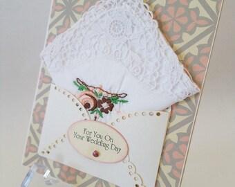 Beautiful Wedding Card Vintage Embroidered Lace Edge Rose Handkerchief Keepsake Gift Friend Hanky Card