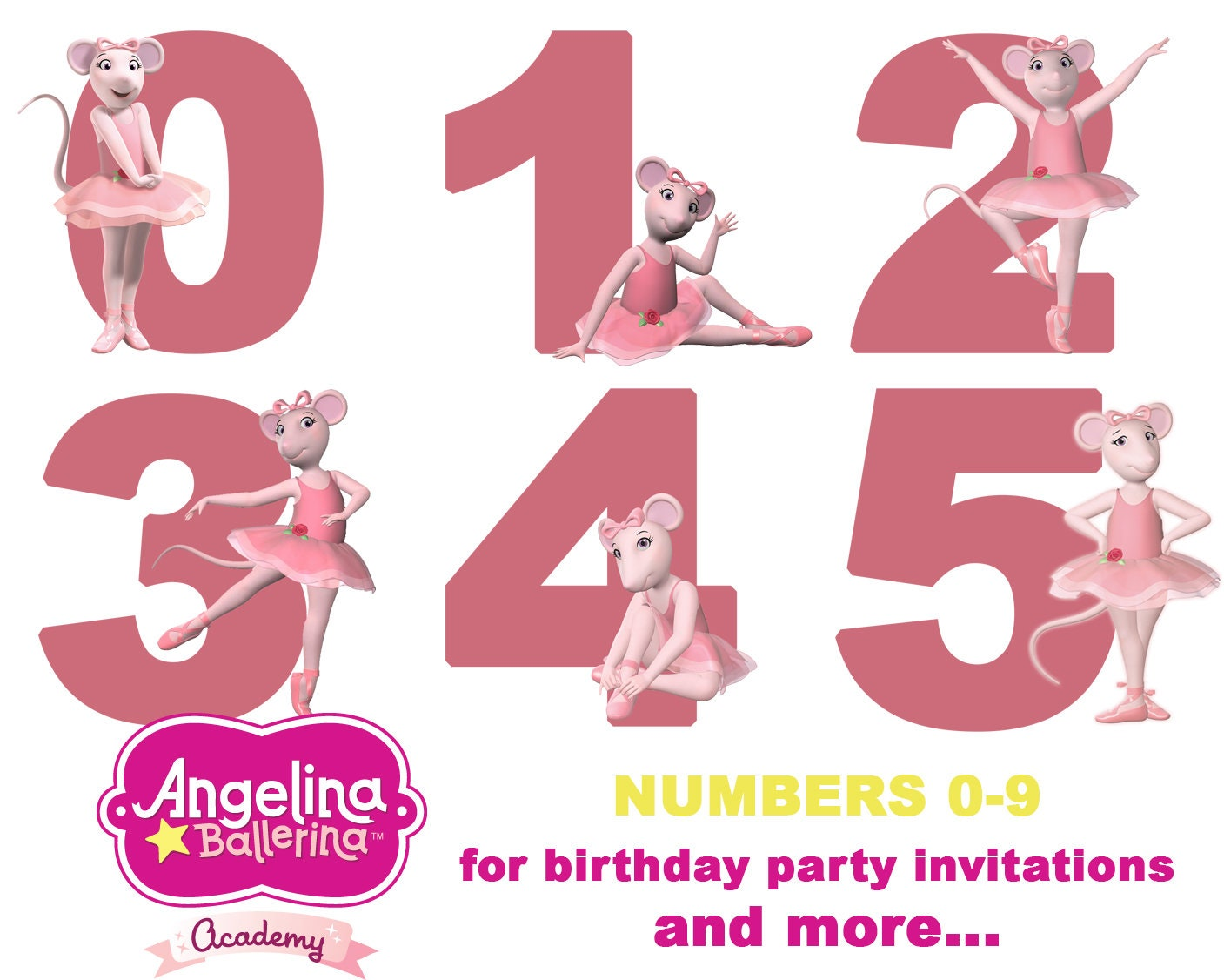 Best collection of 50 ANGELINA BALLERINA Clipart 50 High Quality – Angelina Ballerina Birthday Invitations