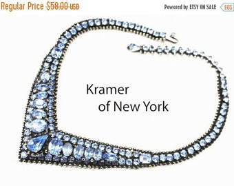 Vintage Kramer Of New York  Necklace -Blue Rhinestone -Crystal Silver - Bib  Collar Necklace