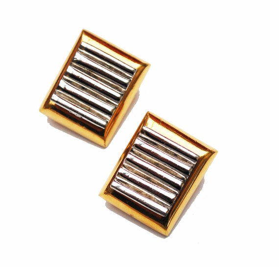 D'Orlan  Earrings - chunky gold plated  silver -  clip on Earring