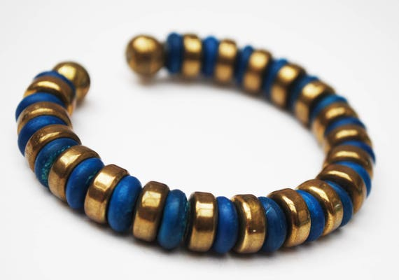 Boho Blue Gold cuff  Bracelet  - Brass Wood Bead  - Cuff Bangle