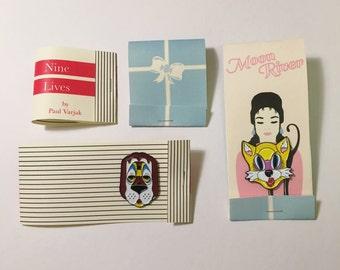 Breakfast at Tiffany's inspired Mask pins Holly Golightly Paul Varjak Audrey Hepburn Cat Dog Classic movie Couple pin