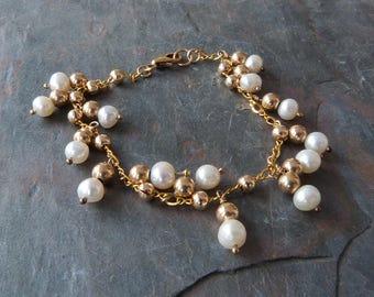 Genuine Pearl Dangle Bracelet w 14K Gold Fill, Real Pearl Bracelet, White Freshwater Pearls Bracelet, Handmade Gold Fill Chain Bracelet