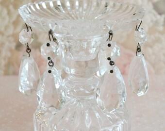 Vintage Crystal Candleholder with Prisms / Candlestick / Chandelier Crystals