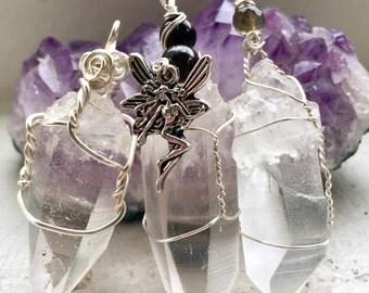 Lemurian Quartz Pendant, Silver Wire Wrapped Lemurian Quartz Crystal, Spiral Path Pendant