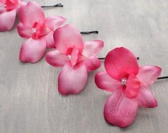 Set of 4 Vibrant Pink Silk Dendrobium Orchid Hair Flowers Bridesmaids Wedding