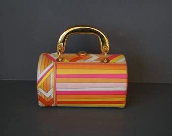 60s Pucci Fabric Handbag / 1960s Emilio Pucci Geometric Print Box Handbag Purse Made in Italy / Mod 60s Designer Bag / Authentic Pucci Purse