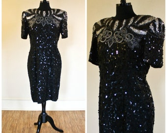 Vintage Black Silver Sequin Beaded Silk Dress Robert Anthony 1980s