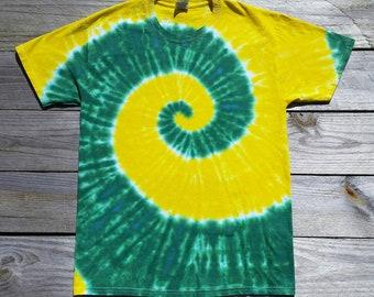 Adult Green and Gold Tie Dye Tshirt, S M L XL XXL, Mens Tie Dye Shirt, Womens Tie Dye Shirt, Hippie Shirt, Tie Dye