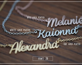 20% OFF // Font 20 //Custom name necklace - Personalized name necklace - Sterling silver- yellow gold- Bridesmaid , Christmas gift.