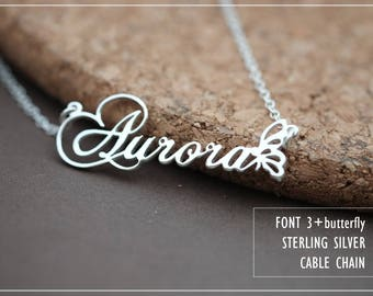 Name Necklace-Custom Name Necklace-Personalized Name Necklace-Custom Name Gift-Your Name Necklace-Bridesmaids Jewelry-Children Names #NF03B