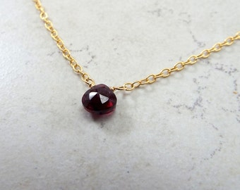 Garnet and Gold Filled Chain Anklet Large 11 inch