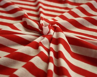 """Red And White Stripe Rayon Spandex Jersey 60"""" Wide Per Yard"""