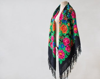 black Russian shawl with neon orange roses, folk art, large wool challis, piano shawl, gypsy shawl, boho throw warm for winter, bold bright