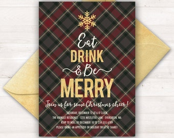 Christmas Party Invitation, Printable Holiday Invitations, Christmas Invitations, Plaid Christmas Invitation, Eat Drink Be Merry Invitations