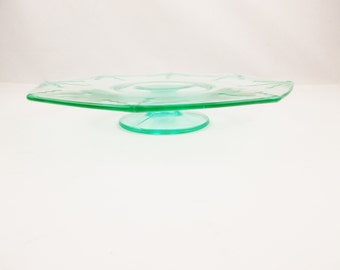 A Mint Green Canape Plate - Cake Plate - Footed - Green Depression Glass - Octagonal Top - Deco Design Plate - Serving Platter