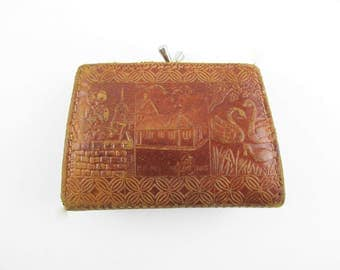 A Brown Tooled Leather 'Danmark' Change Purse - From Denmark - Hans Christian Andersen - Kiss Clasp - Leather Inside - Souvenir Coin Purse
