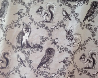 Gray Woodland Forest faux fur baby blanket - baby minky - crib or stroller blanket - fox, owl, squirrel - ready to ship... 33 by 33 in