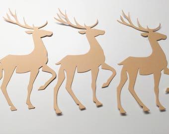 12 Die cut deers - prancing reindeers - buck - Scrapbooking Embellishments - cardmaking